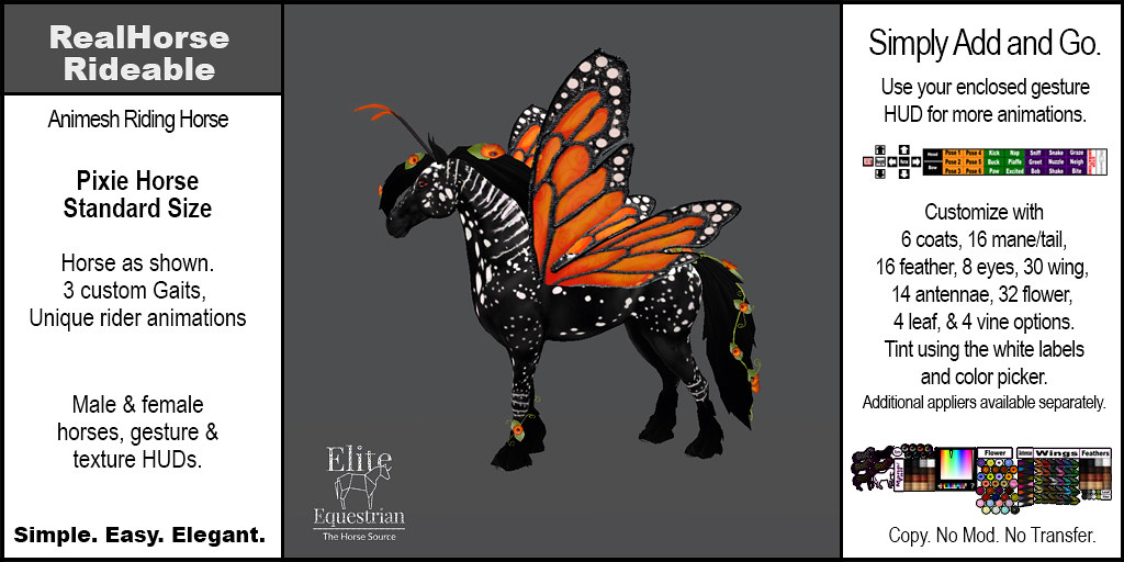 Elite Equestrian's AnimeshReal Horse Rideable Pixie Horse (Standard) Size