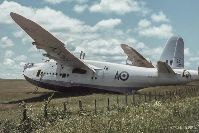 1966 Ex RNZAF Sunderlands NZ4105 & NZ4120 derelict at Hobsonville, Auckland, 29 Dec 1966.