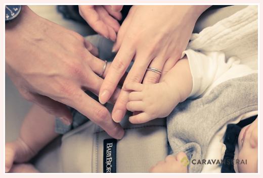 親子三人の手 家族写真 赤ちゃん
