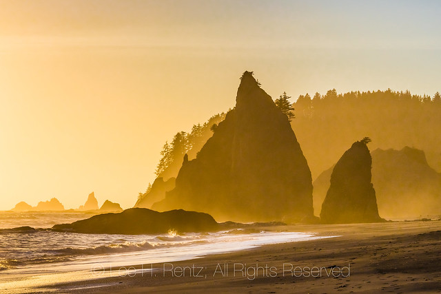 Sunset along Rialto Beach in Olympic National Park