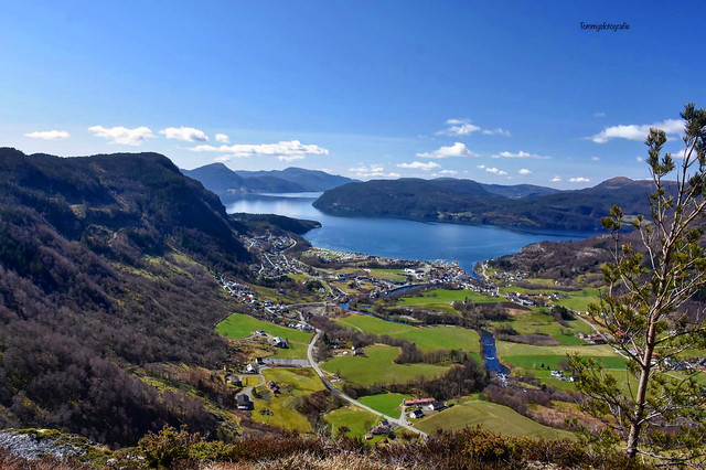 View over Vikedal and the Krossfjorden,  Vindafjord, Rogaland, Norge