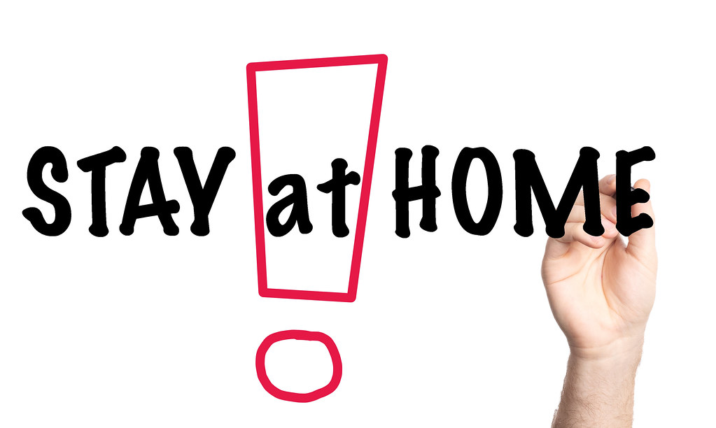 Stay at Home text with marker, concept background