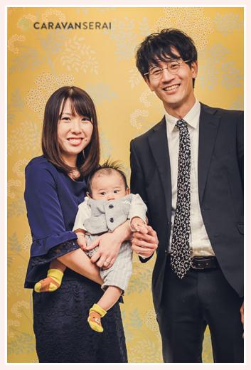お宮参り 親子写真 3人家族