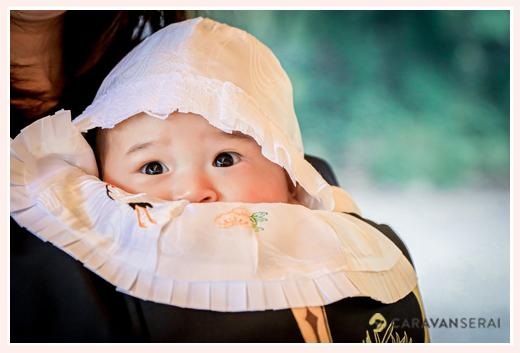 お宮参り 男の子赤ちゃん 産着に帽子、よだれかけ