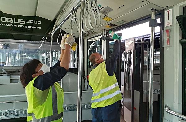 SCL desinfección de buses (Nuevo Pudahuel)