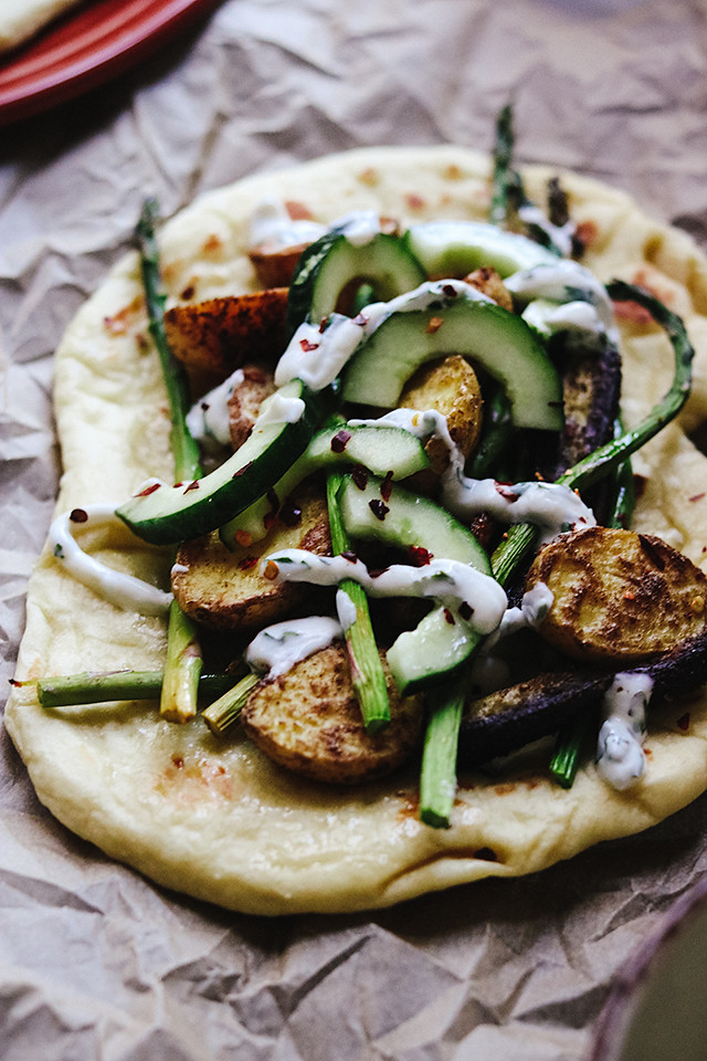 Use-What-You've-Got Roasted Vegetable and Naan Wraps