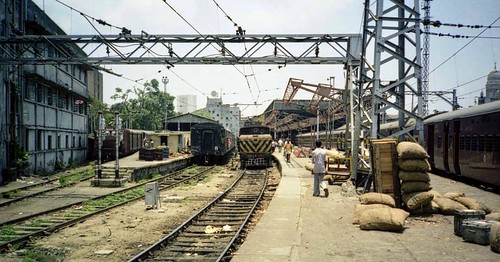 india bombay mumbai asia railway railroad rail victoria terminus electric engine locomotive transportation train trains railways 11981 cr chatrapati shivaji central wcg1