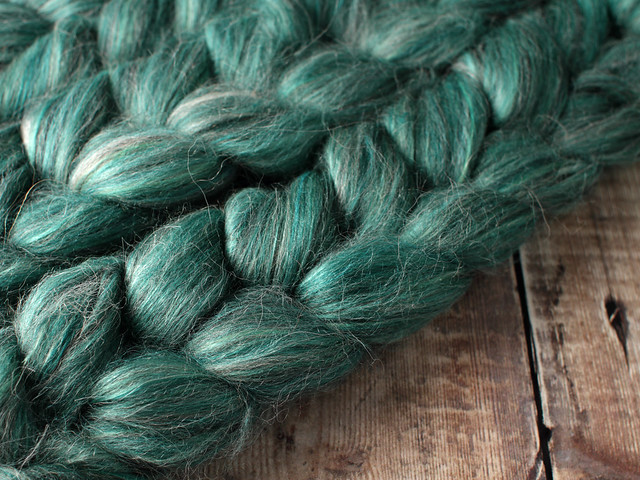 Indulgence British wool, baby Alpaca and Mulberry Silk blended top spinning fibre 100g in 'Evergreen'