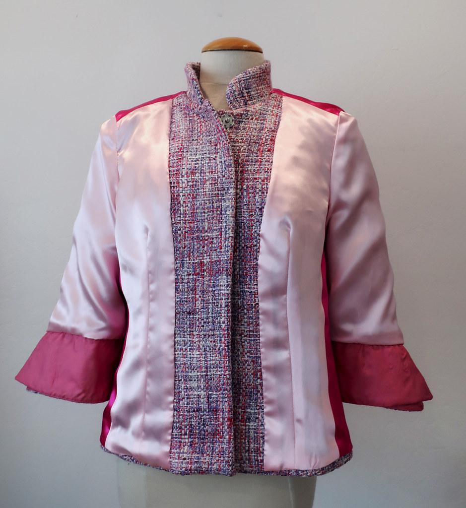 Pink jacket on form inside out front