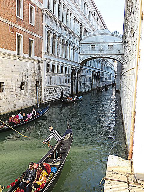Traffic jam on a Venitian  canal