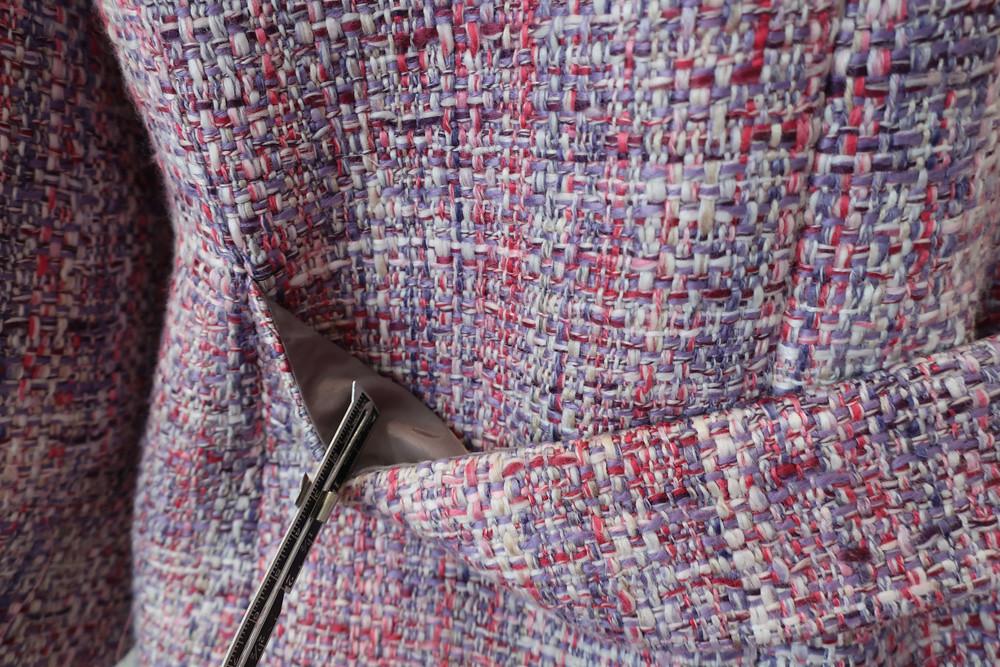 Pink jacket back belt lining