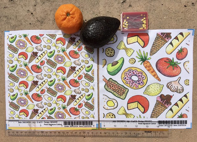 """Paper cut food"", 8x8 inch fabric test swatches of large and small scale versions. Original art hand drawn by me with pens and colored pencils."