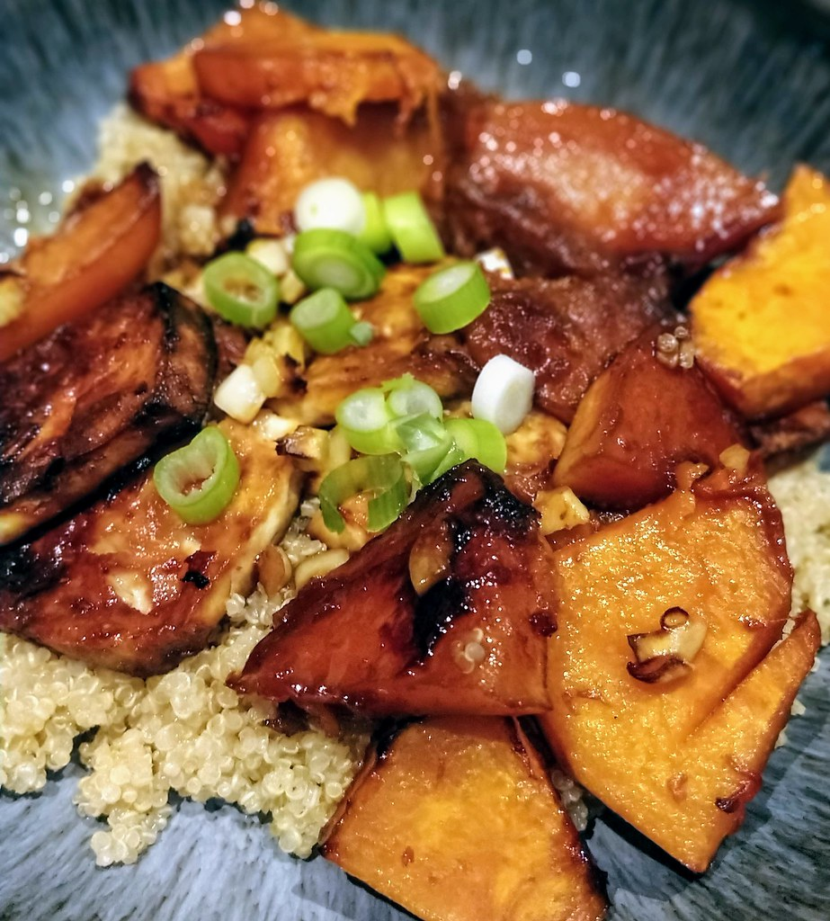 Roasted squash and tofu in bowl