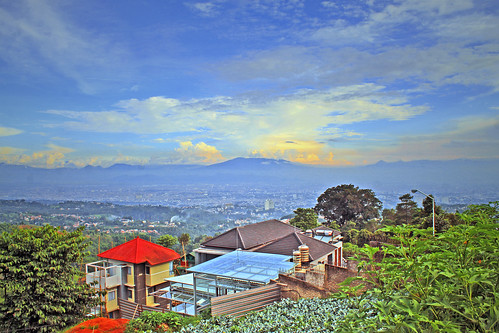 landscape scenery panorama villa city mountain sky cloud lembang bandung
