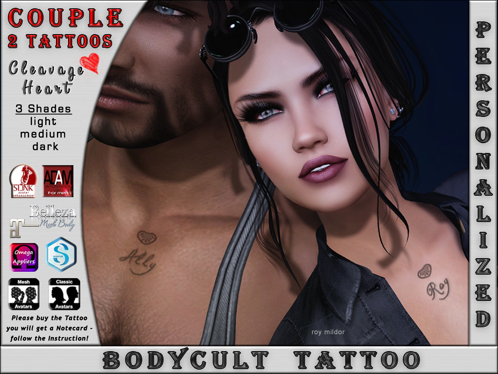 BodyCult Tattoo COUPLE Cleavage Heart w. Name