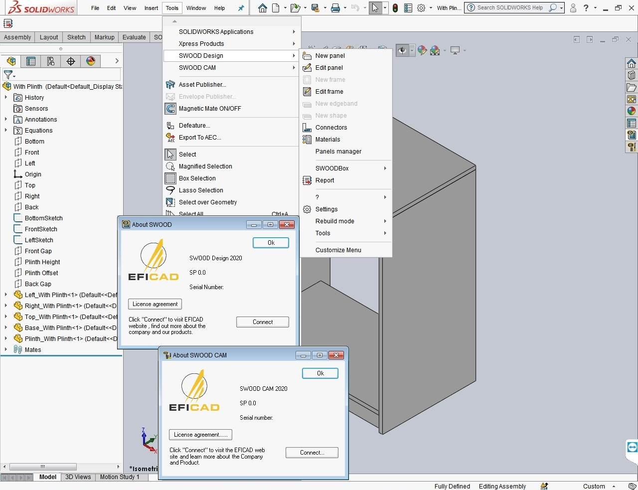Working with EFICAD SWOOD 2020 SP0 for SOLIDWORKS 2010-2020 full license