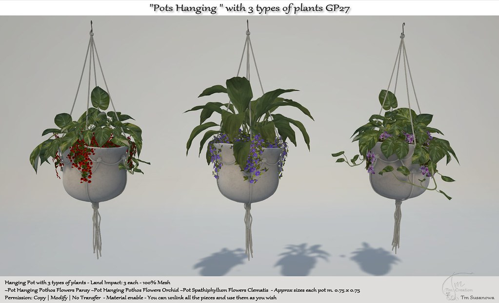 ".:Tm:.Creation ""Pots Hanging "" with 3 types of plants GP27"