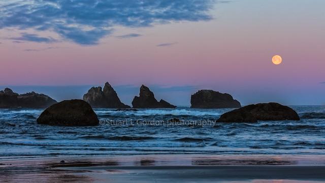 Moonset At Bandon Beach