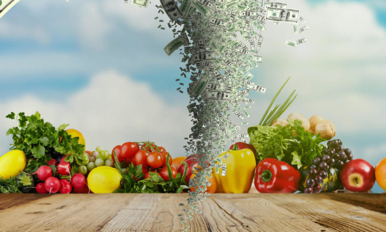 photo illustration of fresh produce and banknotes