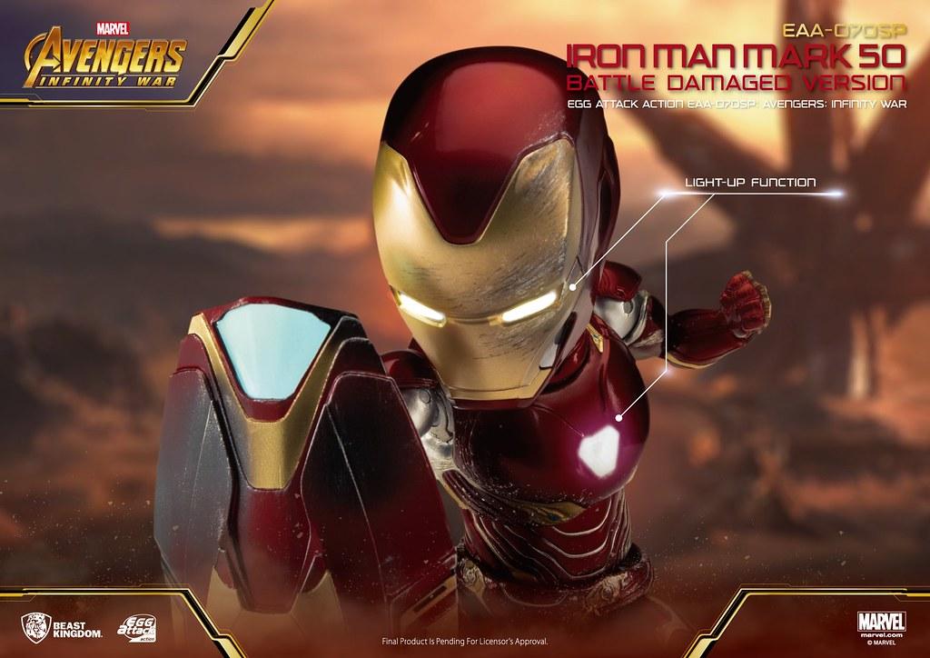 野獸國 Egg Attack Action 系列《復仇者聯盟:無限之戰》鋼鐵人馬克50 戰損版 (Iron Man MARK 50 Damaged Version)、奈米武器組 (Nano Weapon Set) 配件包