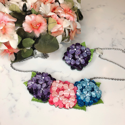 Erstwilder Heartfelt Hydrangea Brooch and Necklace