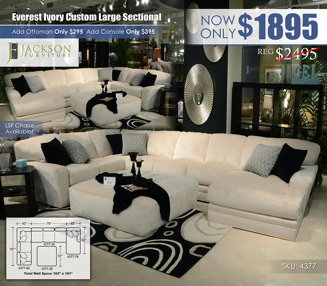 Everest Ivory Large Custom Sectional_4377_Jackson Catnapper_update