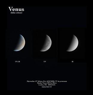 Venus false colour, UV and IR