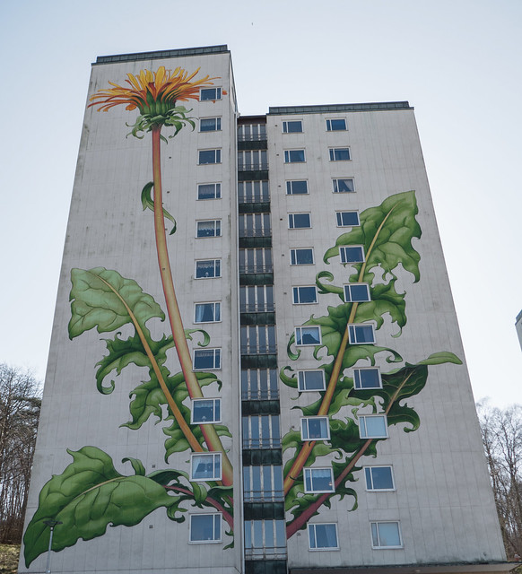 Mural on high-rise buildings in Partille Sweden