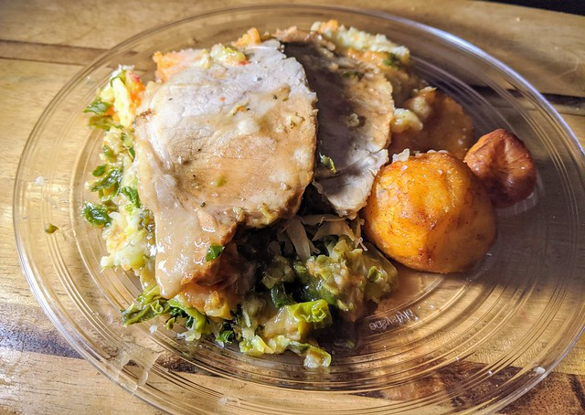 Down and Dirty - Roast Pork with Mash and Roast Potato with Cabbage