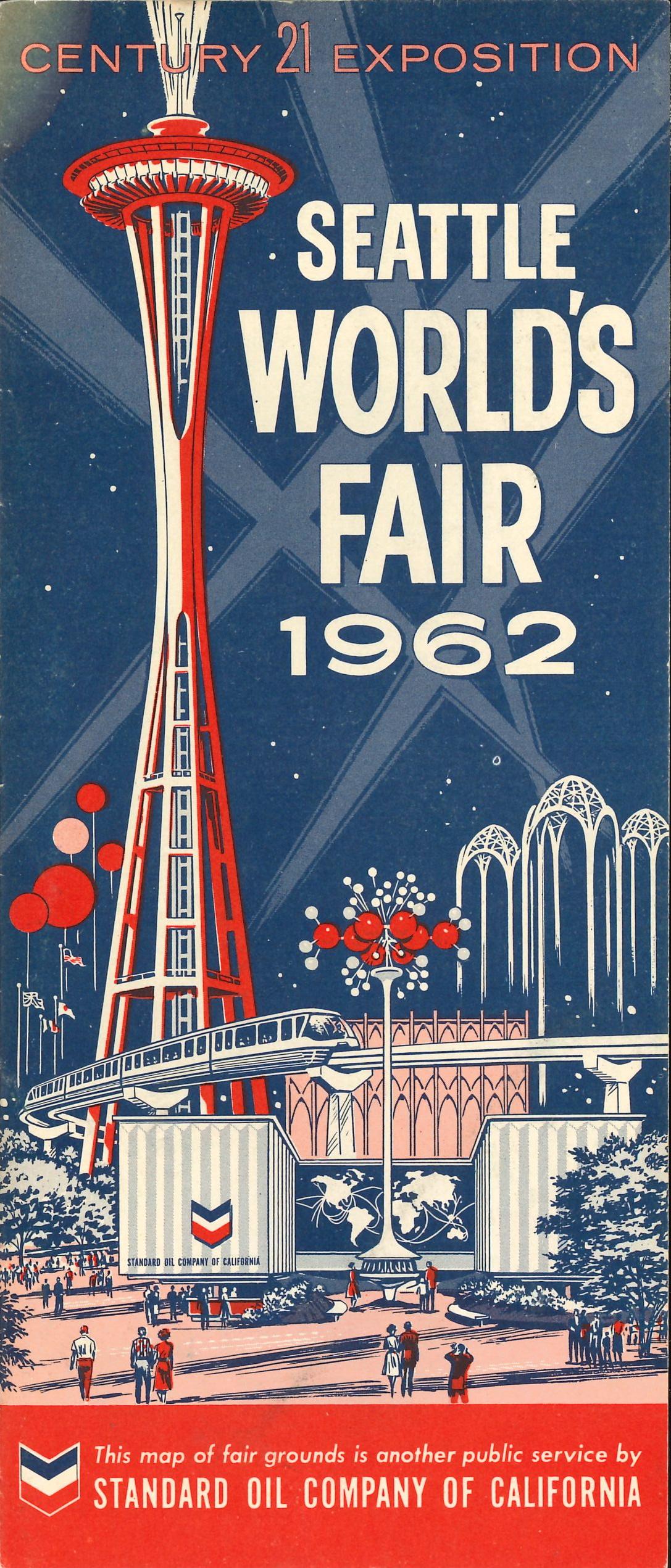 Standard Oil of California (Chevron) Century 21 Exposition Seattle World's Fair map - Seattle, Washington U.S.A. - 1962