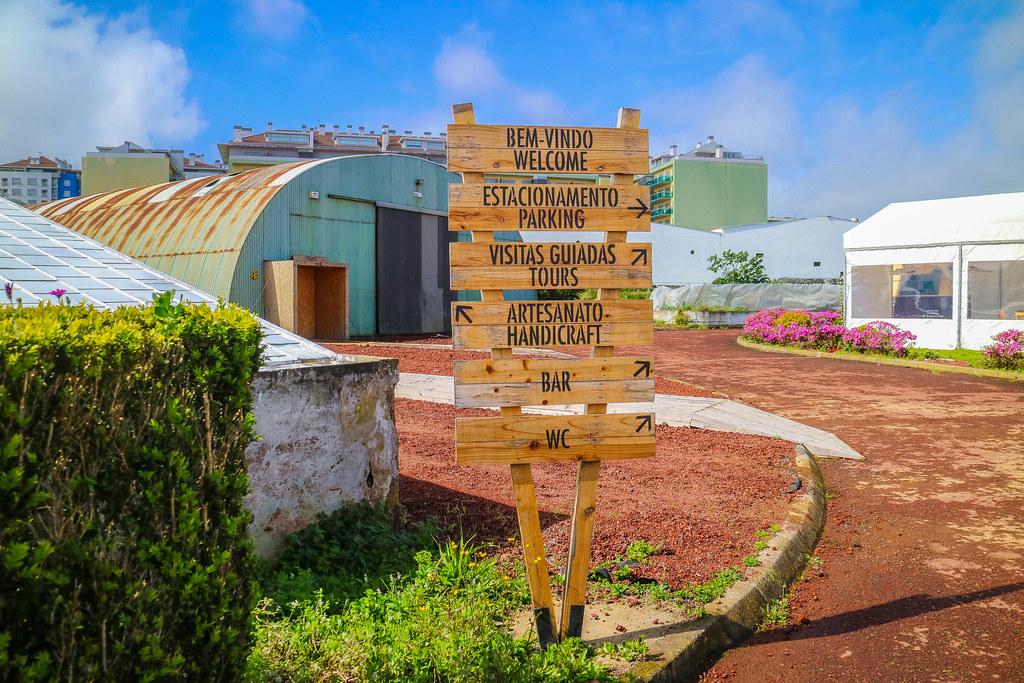 Entrada de la platanción Ananas dos Açores en Ponta Delgada