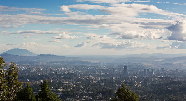 Addis Ababa from the hills above the city, Ethiopia