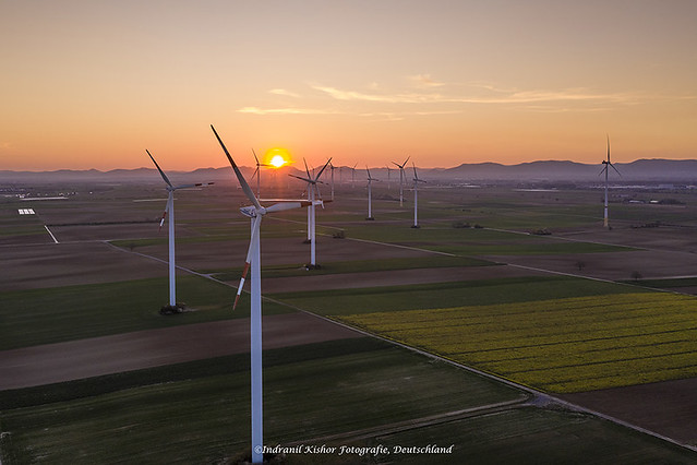 Windpark at Bellheim, Germersheim, Rhineland Pfalz, Germany
