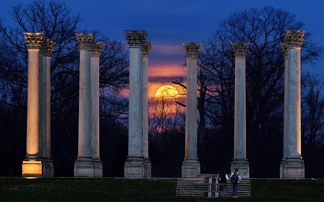 Super Worm Moon rising between the Capitol Columns