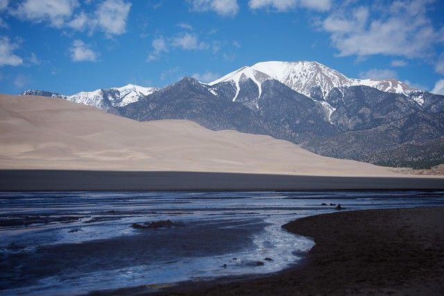 River, Dunes and Mountain