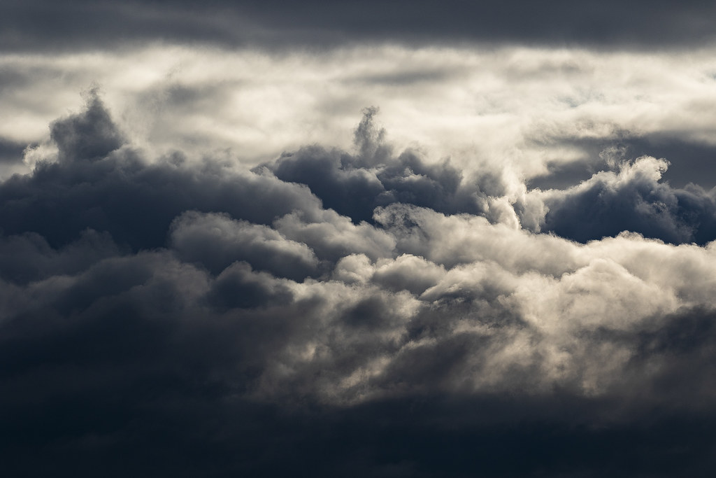 Storm clouds bringing rain to Madrid, Spain