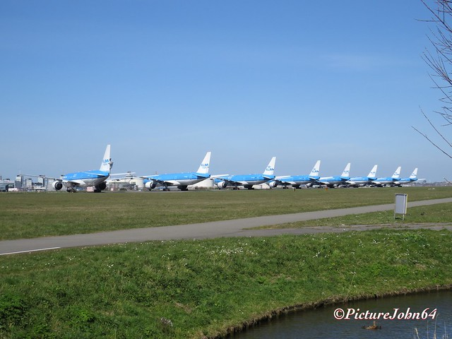 KLM Triple7's stored at Schiphol Amsterdam