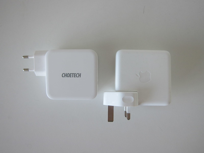 Choetech 100W GaN Dual USB-C Charger vs Apple 61W USB‑C Power Adapter