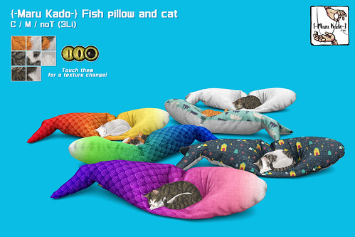 {-Maru Kado-} Fish pillow and cat
