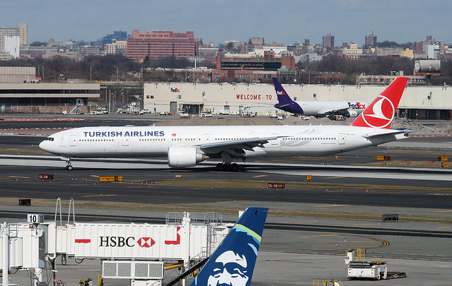 TURKISH AIRLINES, Bowing 777 (777-300), TC-JJV, at JFK, New York, USA. February, 2020