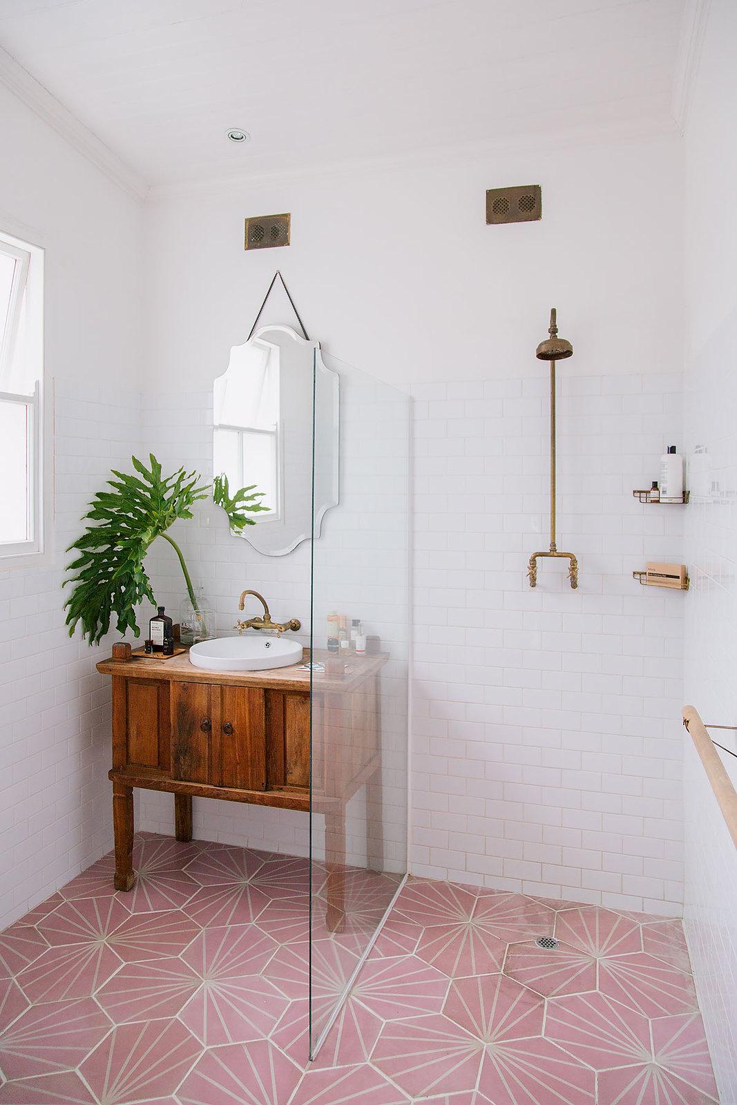 Floor to Ceiling White Subway Tile Bathroom | Pink Floor Tile