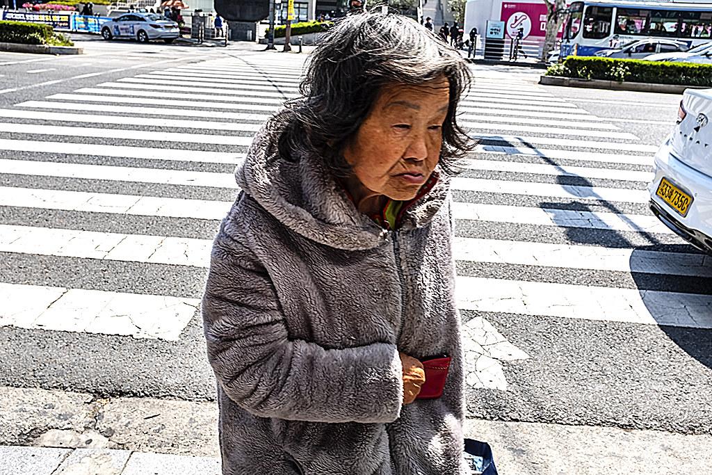 Old woman near Texas Street on 4-9-20--Busan