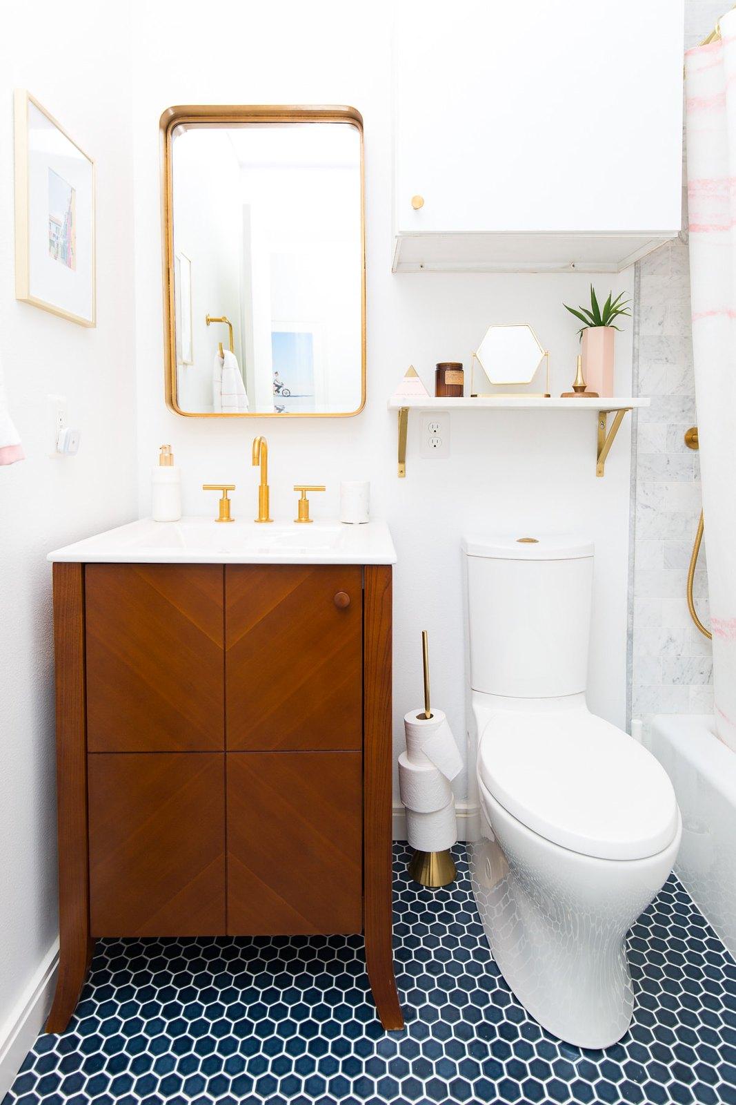 Small Bathrooms Inspiration | Blue Hexagon Floor Tile | Mid Century Modern Bathroom Vanity Cabinet