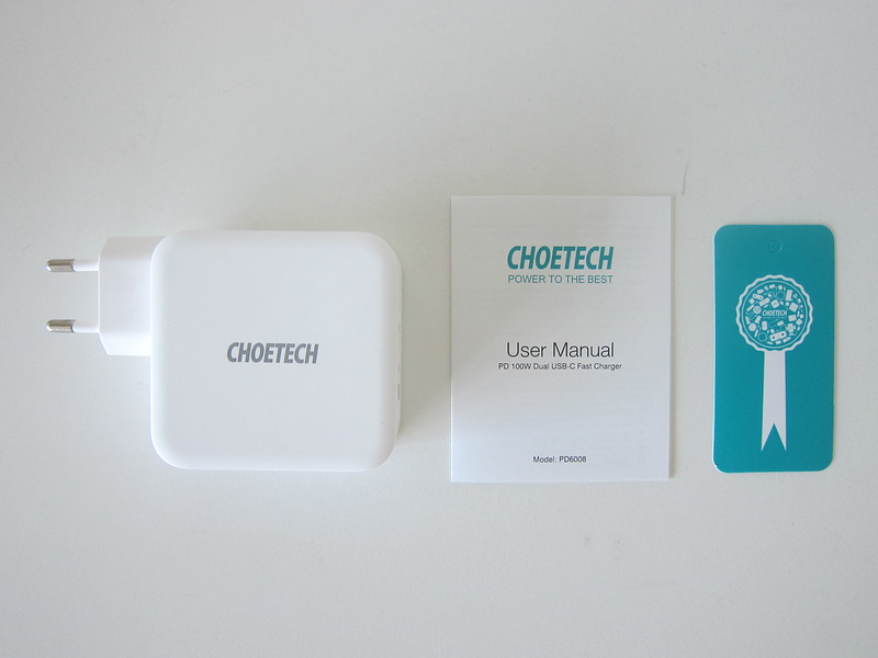 Choetech 100W GaN Dual USB-C Charger - Box Contents