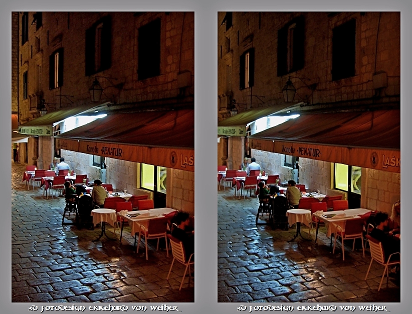 Cafe Terrace at Night 3D