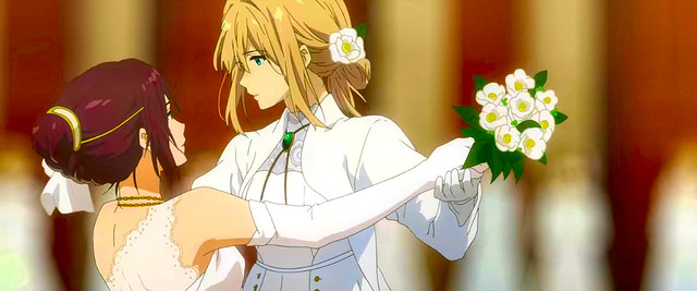 Amy and Violet Evergarden dancing in the new anime movie Eternity and the Auto Memory Doll.