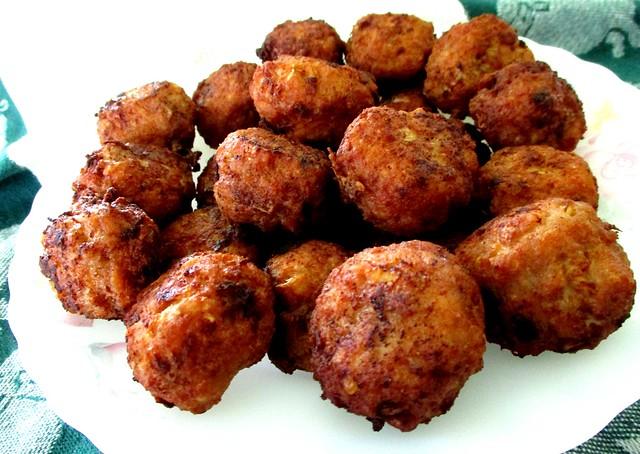 Meat balls, fried till golden brown