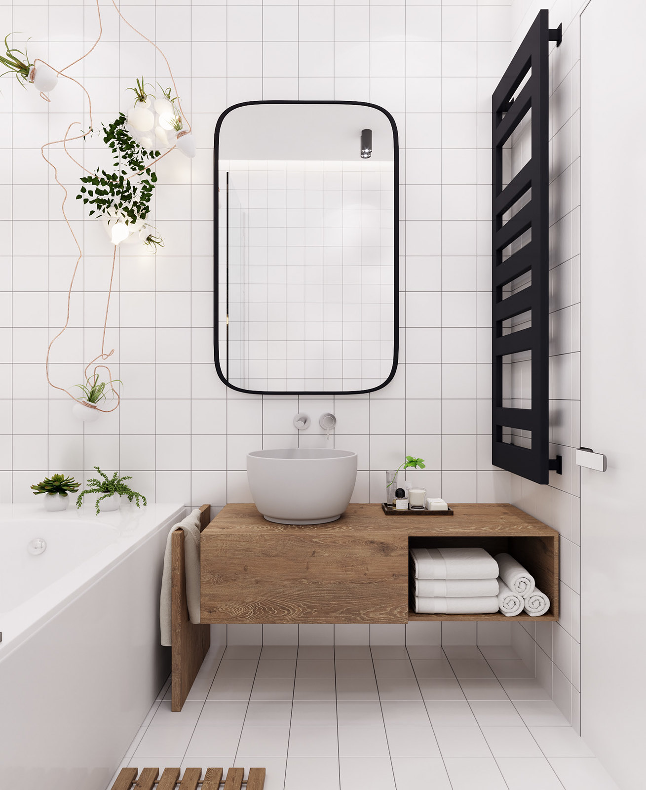 Scandinavian Style Minimalist Bathroom | Monochromatic White Simple Bathroom | Square Subway Tile | Tiny Bathroom Design | Home Inspiration