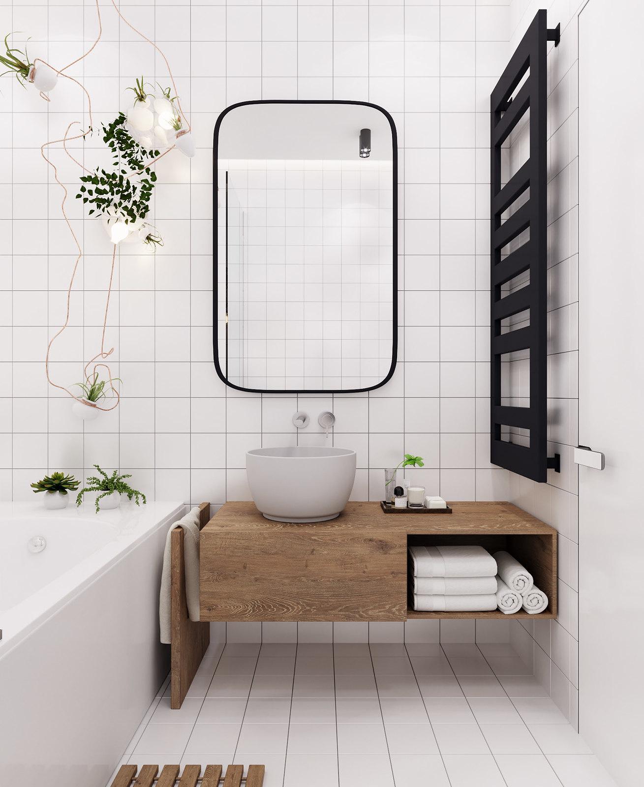 Scandinavian Style Minimalist Bathroom | Monochromatic White Simple Bathroom | Square Subway Tile | Tiny Bathroom Design | Home Inspiration