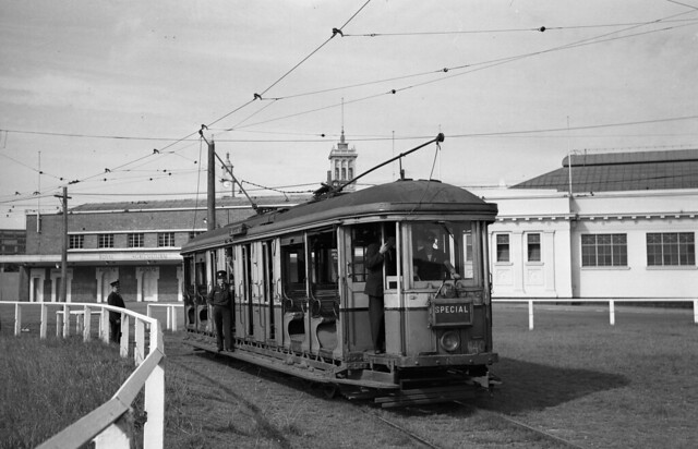 335 03 (1100) Warwick Upton photograph taken sometime in 1954 of O class tram 1140 (driver training) reserve track siding near Driver Avenue at the Showgrounds, Moore Park, Sydney, N.S.W., Australia.
